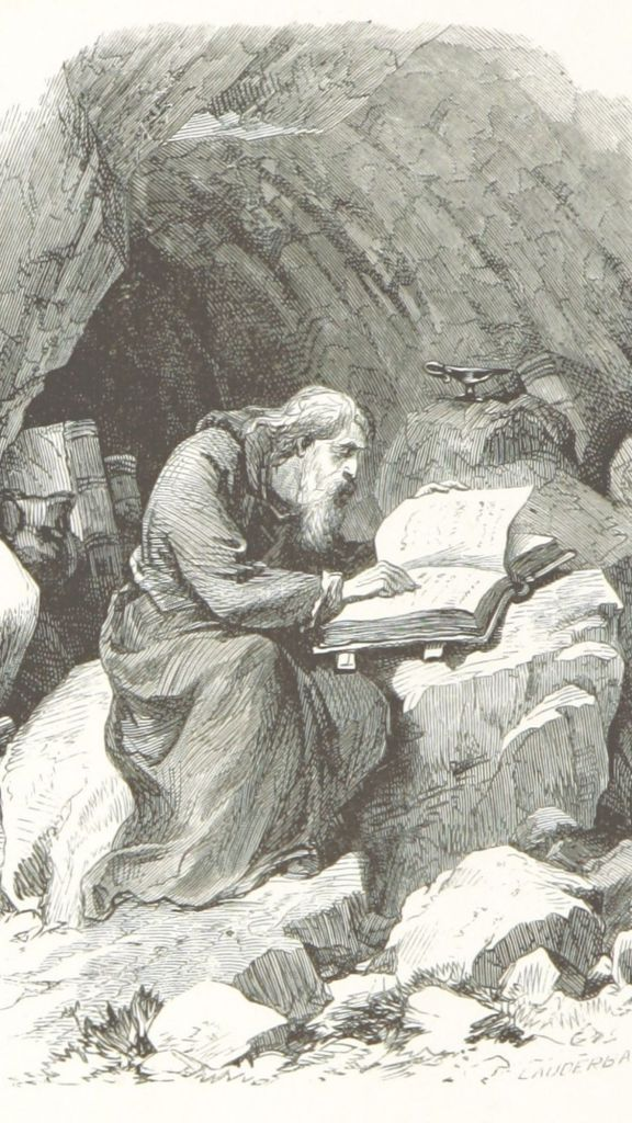 Sat on a rock in a deep cave, a wizened old man wearing long robes immerses himself in an ancient tome. Other books, vases and possessions can be seen at the back of the cave.